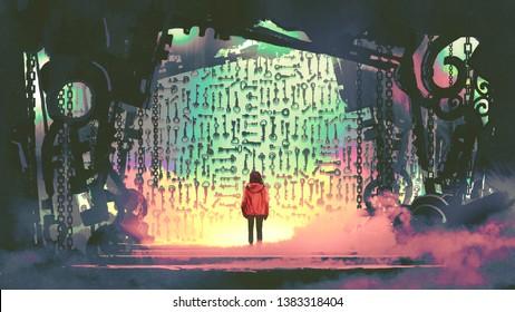 jovencita mirando muchas llaves en la pared en la cueva de vapor, estilo de arte digital, pintura ilustrada