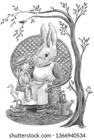 Young girl on the lap of Easter Bunny