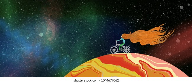 Young girl on a planet in outer space with flowing red hair and riding a silver bicycle in a fun fantasy illustration about adventures and travel and dreaming of the future. Has thick paint texture
