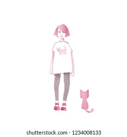 A young girl with pink hair and a cat near her. hand drawn style design illustrations.
