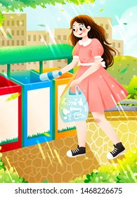 Young girl putting empty bottle into separated recycle bins illustration