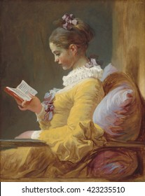 Young Girl Reading, by Jean-Honore Fragonard, c. 1770, French painting, oil on canvas. The girl's dress and cushion are painted in fluid strokes of broad unblended bands of color: saffron, lilac, and
