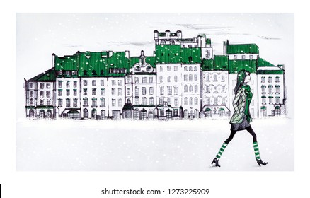 A young girl in striped socks walks in snowy weather through the streets of an old European city. Prague Old Square, Warsaw's Old Town Market Place,  in snow under falling snow. Linear draw