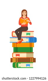 Young girl student reads open book sitting on stack of giant books. High school education concept. Cartoon illustration. Exam preparation using paper book. Modern well-educated youth