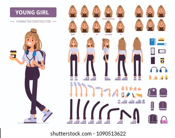 Young  girl or teenager character constructor for animation. Front, side and back view. Flat  cartoon style illustration isolated on white background.