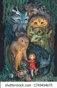 Young girl walking in the dark forest, two trolls or forest spirits watching her. Changeling folklore fairy tale illustration.