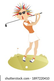 Young golfer woman on the golf course illustration. Young golfer woman in sunglasses tries to do a good hit isolated on white
