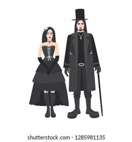 Young goth man and woman with long hair dressed in black clothing standing together. Boyfriend and girlfriend. Gothic counterculture or subculture. Colorful  illustration in flat cartoon style.