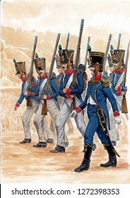 Young guard illustration. Napoleonic wars illustration.