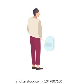Young guy standing and peeing into urinal isolated on white background. Male flat cartoon character urinating in men's toilet, lavatory, loo, restroom or WC. Modern colorful illustration.