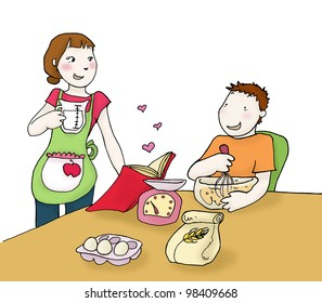Young happy couple preparing a cake. Illustration isolated on white background