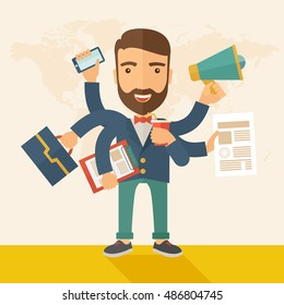 A young happy hipster Caucasian with beard has six arms doing multiple office tasks at once as a symbol of the ability to multitask, performing multiple task simultaneously. Multitasking concept. A