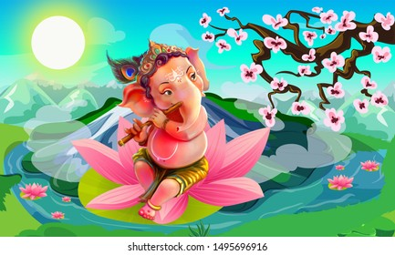 Young Happy Lord Ganesha is Playing Flute, Sitting on Divine Lotus. Nature Background. Landscape Illustration. Hindu Mythology.Drawing. Mountain Scenery.Colorful.Graphic. Dreamy. Fantasy. Devotional.