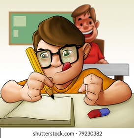 a young hard student doing his examination