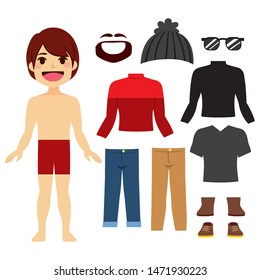 Young hipster paper doll boy with a set of clothes and accessories