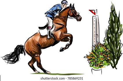 Young horseman on show jumping competition. Rider with horse jump over the hurdle