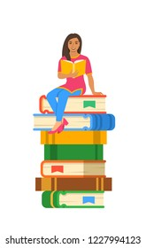 Young Indian girl student reads open book sitting on stack of giant books. High school education concept. Cartoon illustration. Exam preparation using paper book. Modern well-educated youth