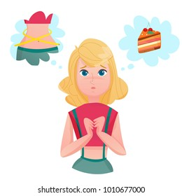 Young lady cartoon character dieting to loose weight dreaming of cake and slim figure temptation emotions  illustrations