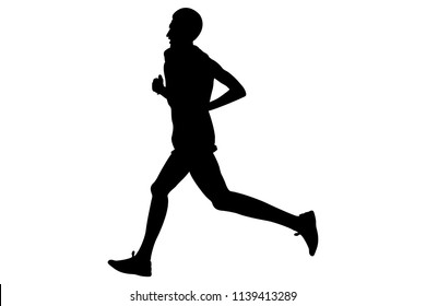 young male athletic runner marathon running black silhouette