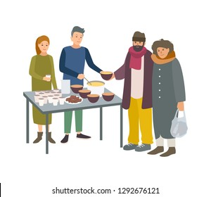 Young male and female volunteers feeding poor homeless people isolated on white background. Man and woman giving food to beggars on street. Voluntary altruistic activity. Cartoon  illustration