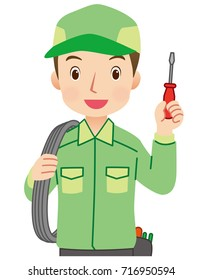 """young man electric worker """"green uniform type"""""""