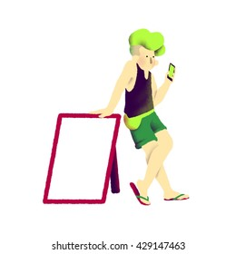 Young man with empty sign and cell phone.Staying with hand on the sign. Digital illustration, white background.