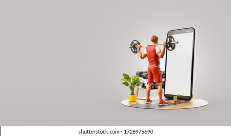 Young man in gym doing squats with barbell in front of smartphone and using smart phone for exercises. Smartphone sports and gum apps concept. Unusual 3d illustration