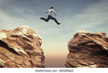 Young man jumping over the chasm. This is a 3d render illustration