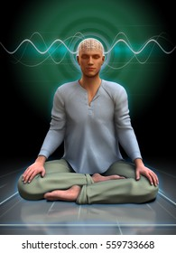 Young man meditating with some brainwaves going through his head. 3D illustration.