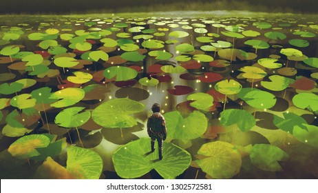 young man on giant lily pad leaf in fantasy swamp, digital art style, illustration painting
