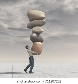 Young man up a pile of stones in balance - meditation stones. This is a 3d render illustration