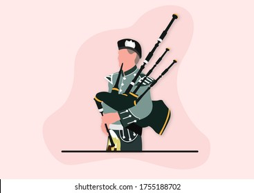 A young man playing bagpipes instrument happily.