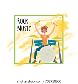 Young man playing drum set. Drummer, percussion musician. Illustration, poster template, isolated on white background. Raster version.