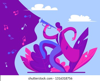 Young man playing trumpet jazz. Music concept. Illustration in flat style