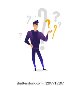 Young man in purple clothing standing in thoughtful pose holding his chin thinking with questions above head. Isolated illustration portrait in cartoon style