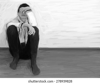 young man - sad - conceptual black and white picture - modern painting