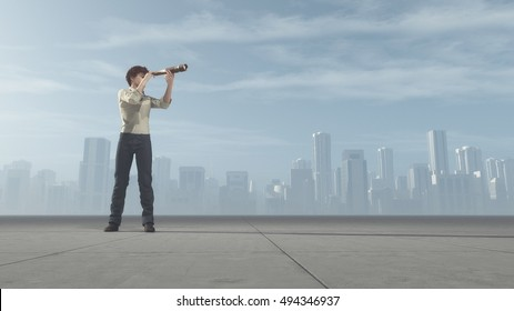 The young man standing on a on road and looking through a telescope at city. This is a 3d render illustration