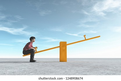 The young man stands in a seesaw. This is a 3d render illustration.