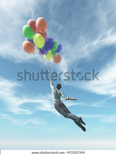 The young man in suit flying with  colorful balloons.  This is a 3d render illustration