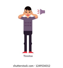 Young man with tinnitus - symptom of otolaryngology disease isolated on white background. Sick male cartoon character hearing loud sound or ringing in flat illustration.