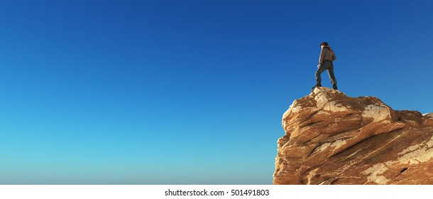 Young man at the top of the mountain on blue background admiring the view. This is a 3d render illustration
