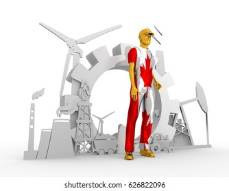 Young man wearing apron textured by flag of the Canada. Bearded worker at industrial isometric icons set. 3D rendering. Metallic material. Energy generation and heavy industry.