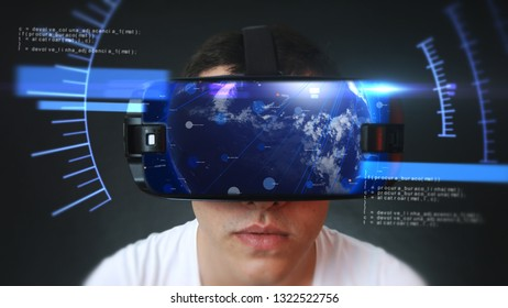 Young man wearing VR headset and experiencing virtual reality. Technology related digital earth network concept. 3D rendering.