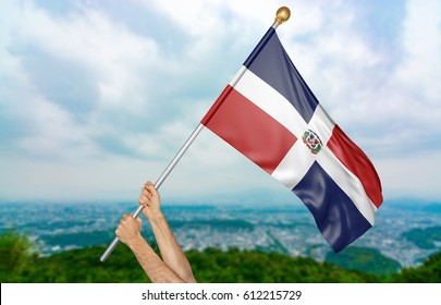 Young man's hands proudly waving the Dominican Republic national flag in the sky, part 3D rendering
