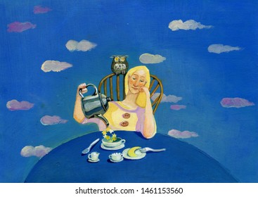 Young meek and pretty woman has breakfast and pours stars instead of tea into the cup and has the moon instead of a brioches  the atmosphere is dreamy and metaphysical surreal illustration