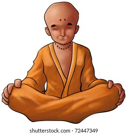 young monk meditation in a sit position wearing a robe