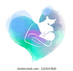 Young mother feeding breast milk her baby silhouette on watercolor background. Happy mother's day. Mom and child Health. Digital art painting.
