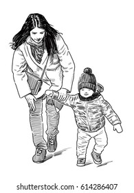 young mother with her kid walking