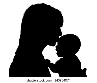 young mother kissing her newborn baby silhouette