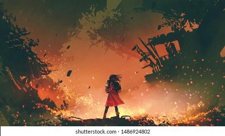 junge Mutter mit rotem Mantel, die ihr Baby in der brennenden Stadt trägt, digitale Kunststil, Illustrationsmalerei